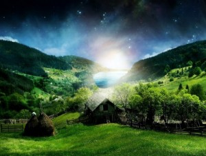 Village-on-Green-Valley-with-Lake-Landscape-at-Night-600x375